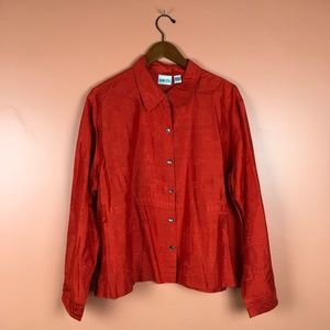 Chico's   Embroidered Silk Button Down Shirt L NWT